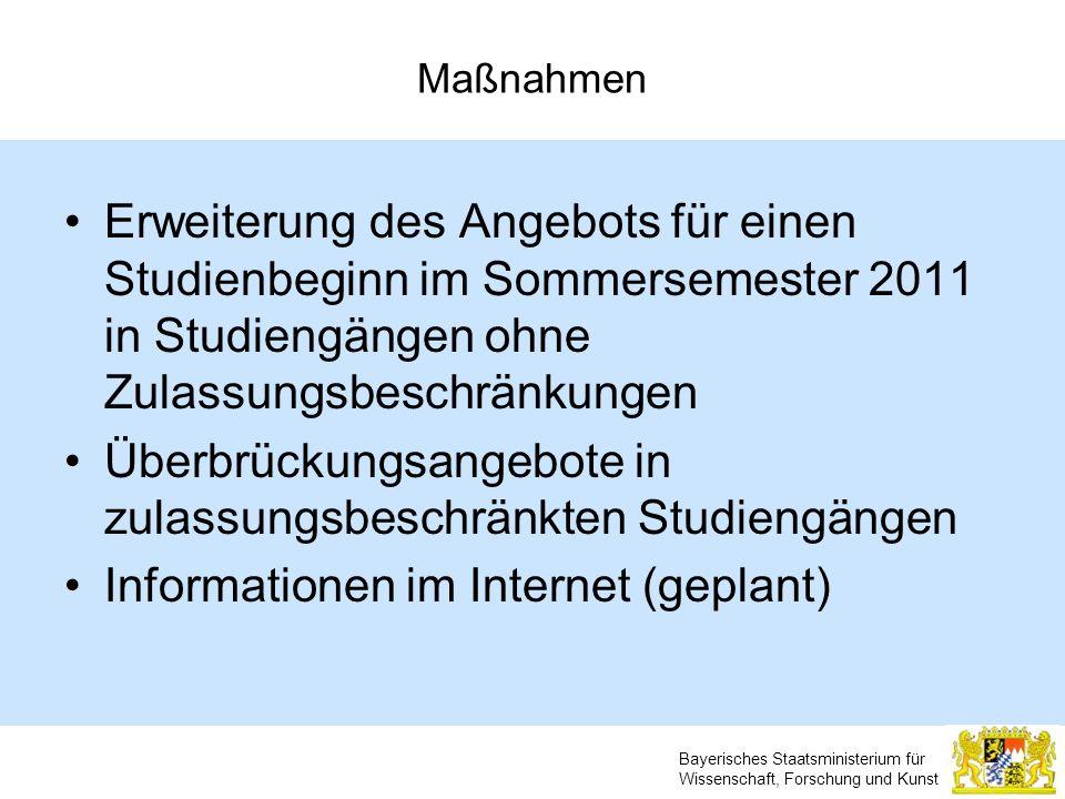Bayerisches Staatsministerium für Wissenschaft, Forschung und Kunst Maßnahmen Erweiterung des Angebots für einen Studienbeginn im Sommersemester 2011