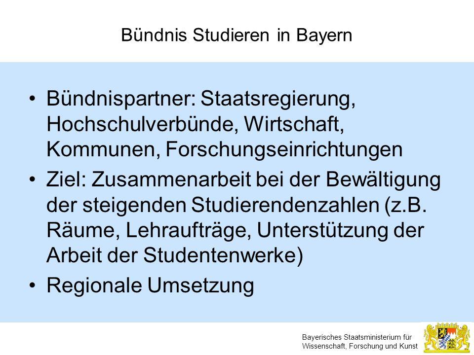 Bayerisches Staatsministerium für Wissenschaft, Forschung und Kunst Bündnis Studieren in Bayern Bündnispartner: Staatsregierung, Hochschulverbünde, Wi