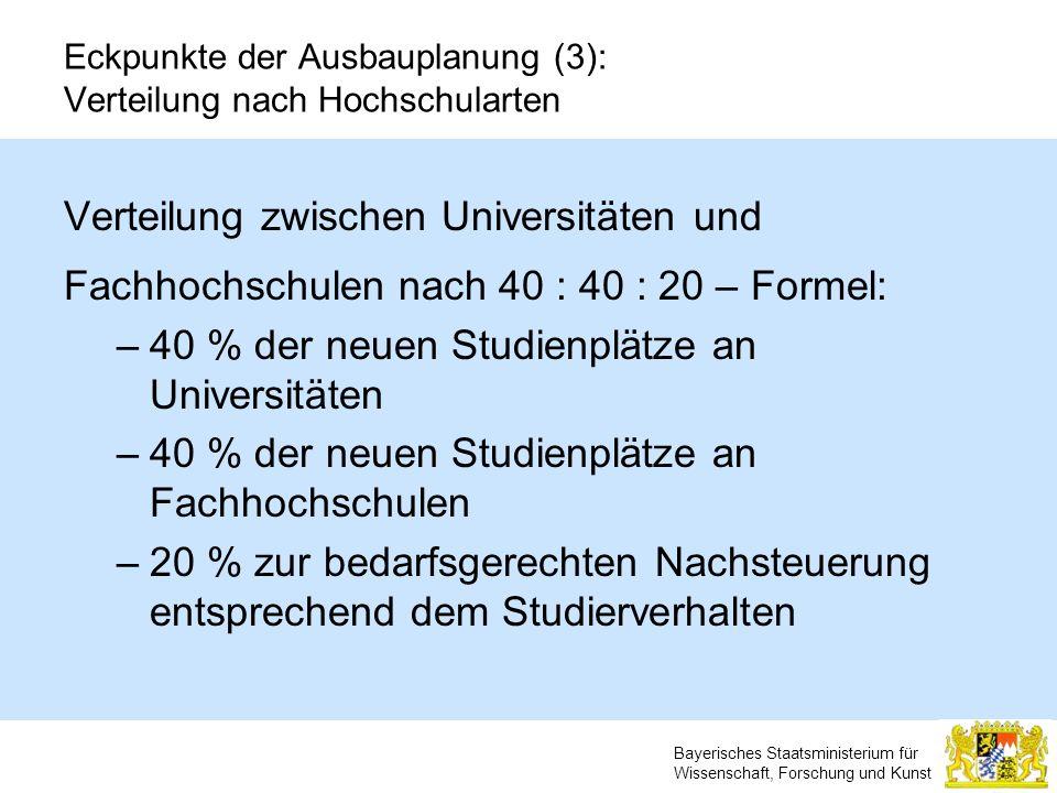 Bayerisches Staatsministerium für Wissenschaft, Forschung und Kunst Eckpunkte der Ausbauplanung (3): Verteilung nach Hochschularten Verteilung zwische