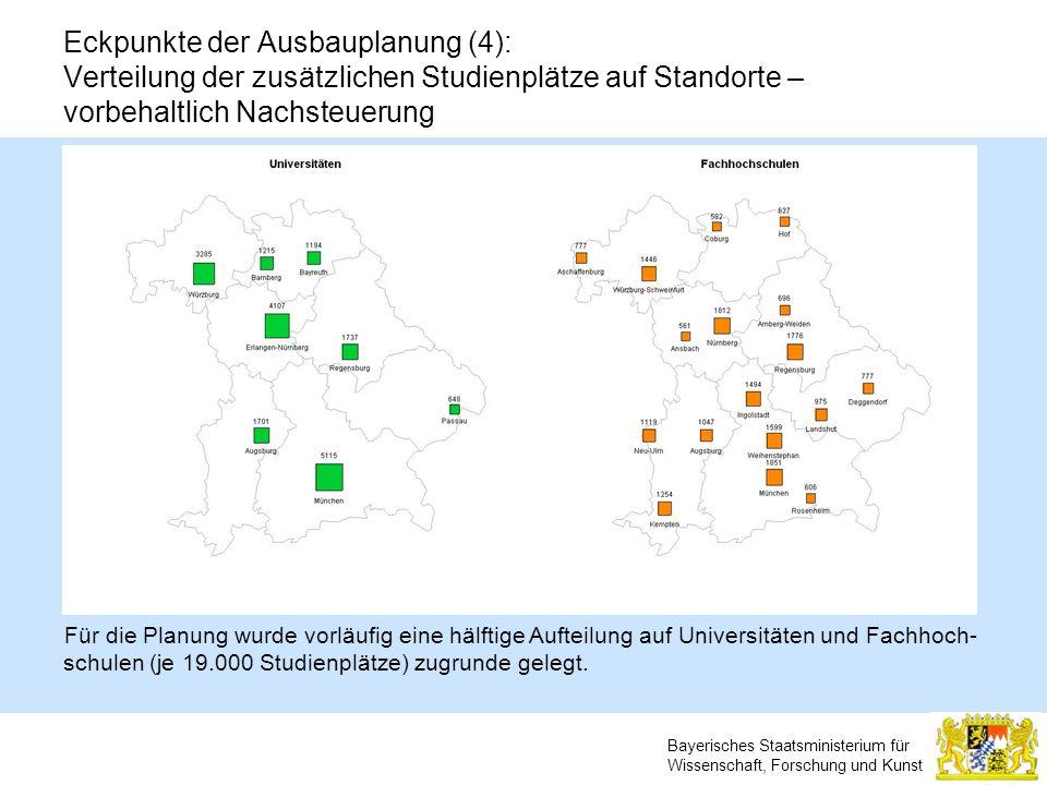 Bayerisches Staatsministerium für Wissenschaft, Forschung und Kunst Eckpunkte der Ausbauplanung (4): Verteilung der zusätzlichen Studienplätze auf Sta