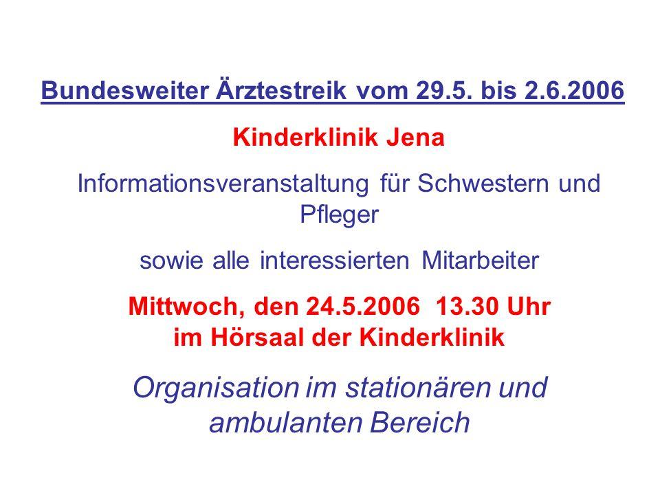 Bundesweiter Ärztestreik vom 29.5. bis 2.6.2006 Kinderklinik Jena Informationsveranstaltung für Schwestern und Pfleger sowie alle interessierten Mitar