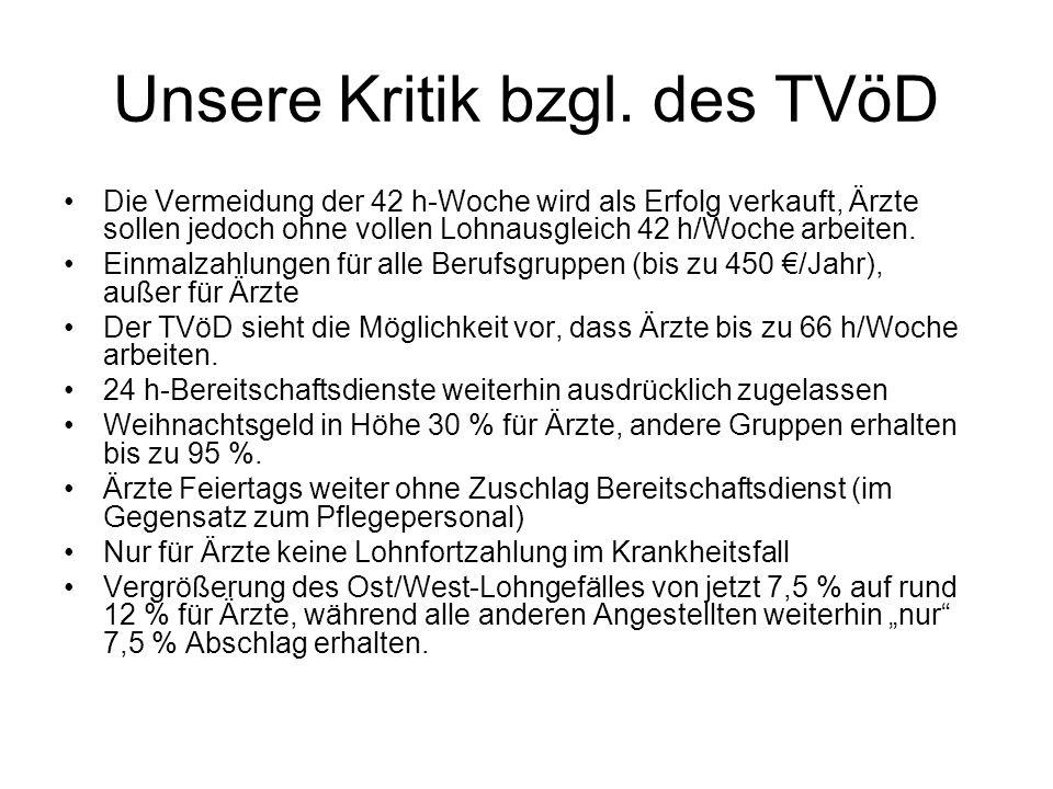 Unsere Kritik bzgl. des TVöD Die Vermeidung der 42 h-Woche wird als Erfolg verkauft, Ärzte sollen jedoch ohne vollen Lohnausgleich 42 h/Woche arbeiten