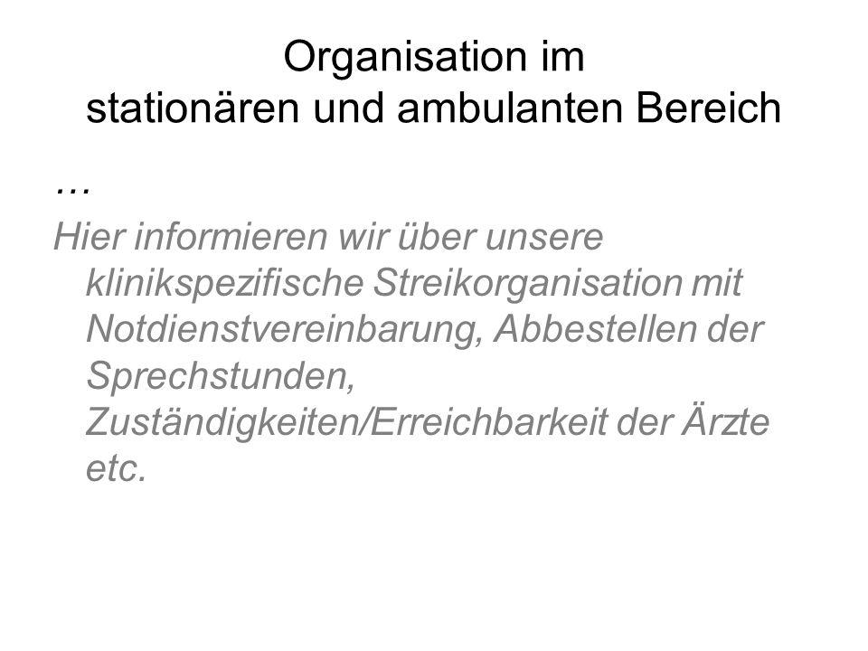 Organisation im stationären und ambulanten Bereich … Hier informieren wir über unsere klinikspezifische Streikorganisation mit Notdienstvereinbarung,