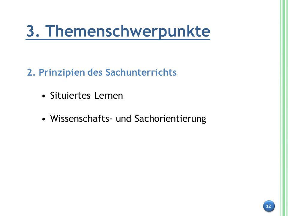 12 3. Themenschwerpunkte 2. Prinzipien des Sachunterrichts Situiertes Lernen Wissenschafts- und Sachorientierung
