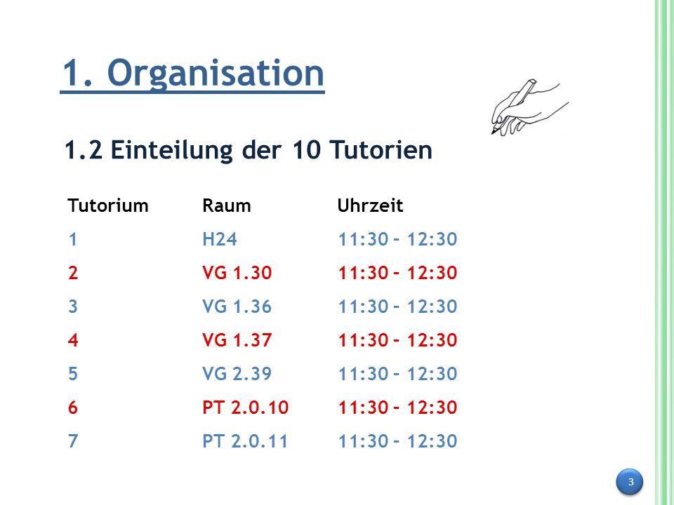 3 1. Organisation 1.2 Einteilung der 10 Tutorien Tutorium RaumUhrzeit 1H2411:30 – 12:30 2VG 1.3011:30 – 12:30 3VG 1.3611:30 – 12:30 4VG 1.3711:30 – 12