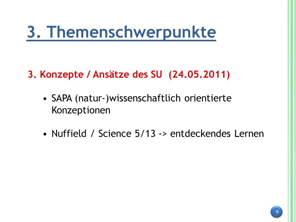 9 3. Themenschwerpunkte 3. Konzepte / Ansätze des SU (24.05.2011) SAPA (natur-)wissenschaftlich orientierte Konzeptionen Nuffield / Science 5/13 -> en