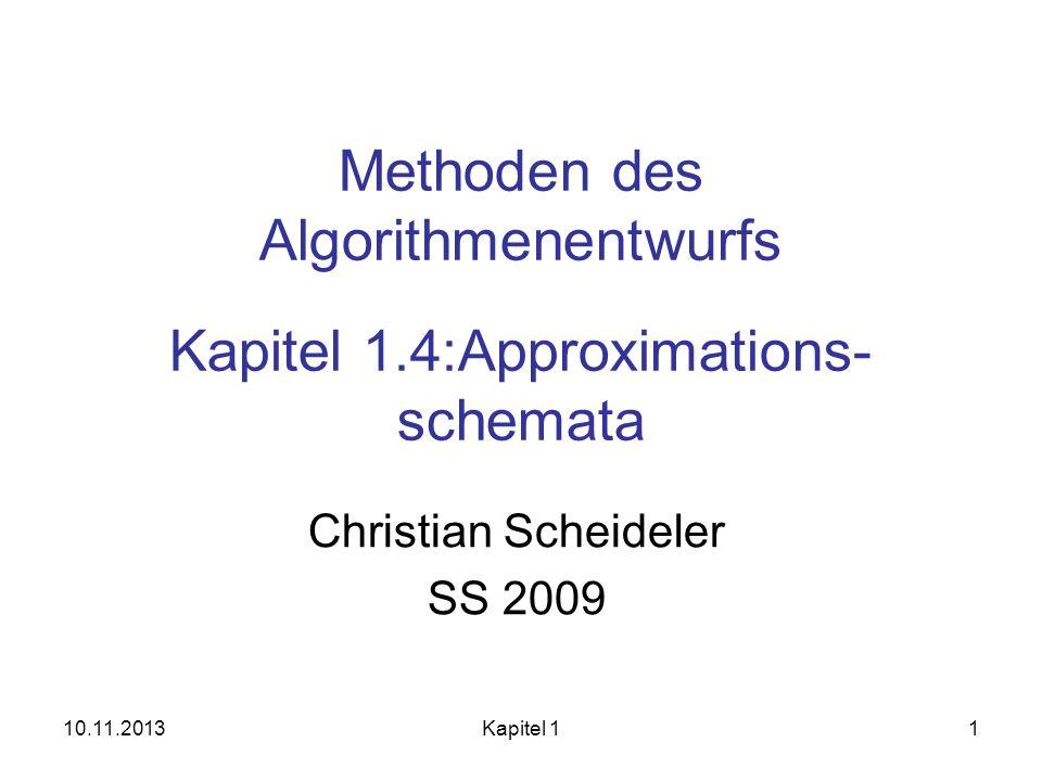 10.11.2013Kapitel 1212 Exakter Algo für Rucksack Sei OPT(i,p) = min.