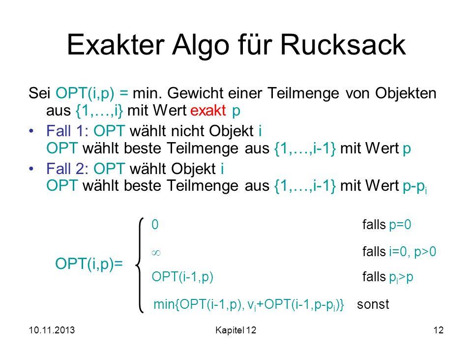 10.11.2013Kapitel 1212 Exakter Algo für Rucksack Sei OPT(i,p) = min. Gewicht einer Teilmenge von Objekten aus {1,…,i} mit Wert exakt p Fall 1: OPT wäh