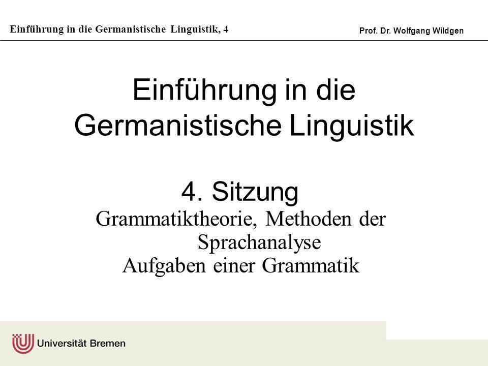 Einführung in die Germanistische Linguistik, 4 Prof. Dr. Wolfgang Wildgen Einführung in die Germanistische Linguistik 4. Sitzung Grammatiktheorie, Met