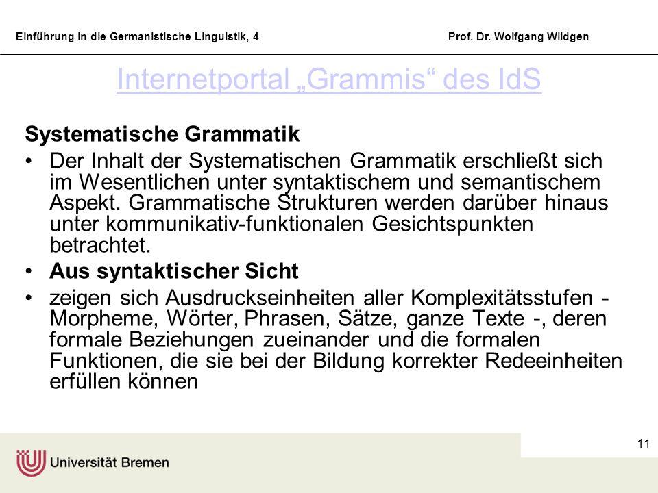 Einführung in die Germanistische Linguistik, 4Prof. Dr. Wolfgang Wildgen 11 Internetportal Grammis des IdS Systematische Grammatik Der Inhalt der Syst