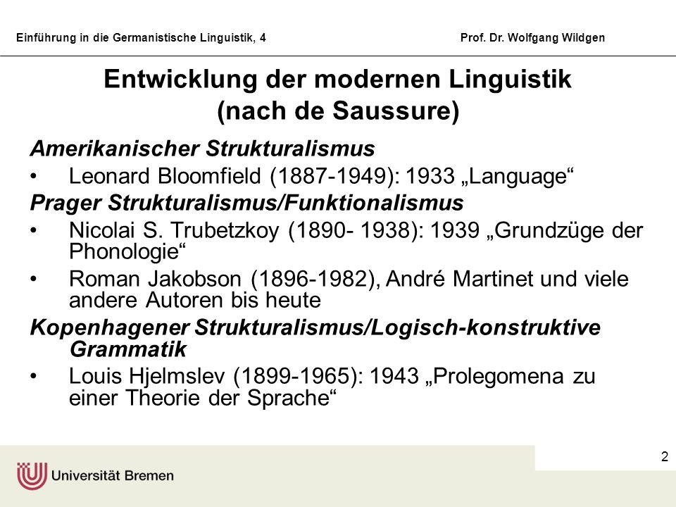 Einführung in die Germanistische Linguistik, 4Prof. Dr. Wolfgang Wildgen 2 Entwicklung der modernen Linguistik (nach de Saussure) Amerikanischer Struk