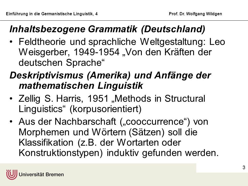 Einführung in die Germanistische Linguistik, 4Prof. Dr. Wolfgang Wildgen 3 Inhaltsbezogene Grammatik (Deutschland) Feldtheorie und sprachliche Weltges