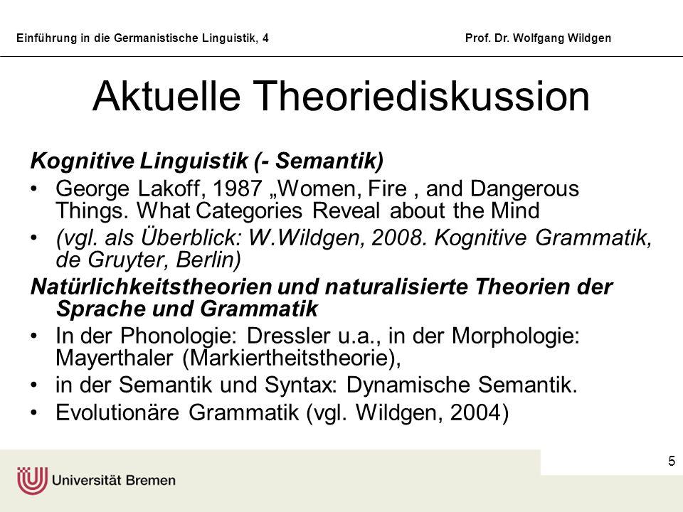Einführung in die Germanistische Linguistik, 4Prof. Dr. Wolfgang Wildgen 5 Aktuelle Theoriediskussion Kognitive Linguistik (- Semantik) George Lakoff,
