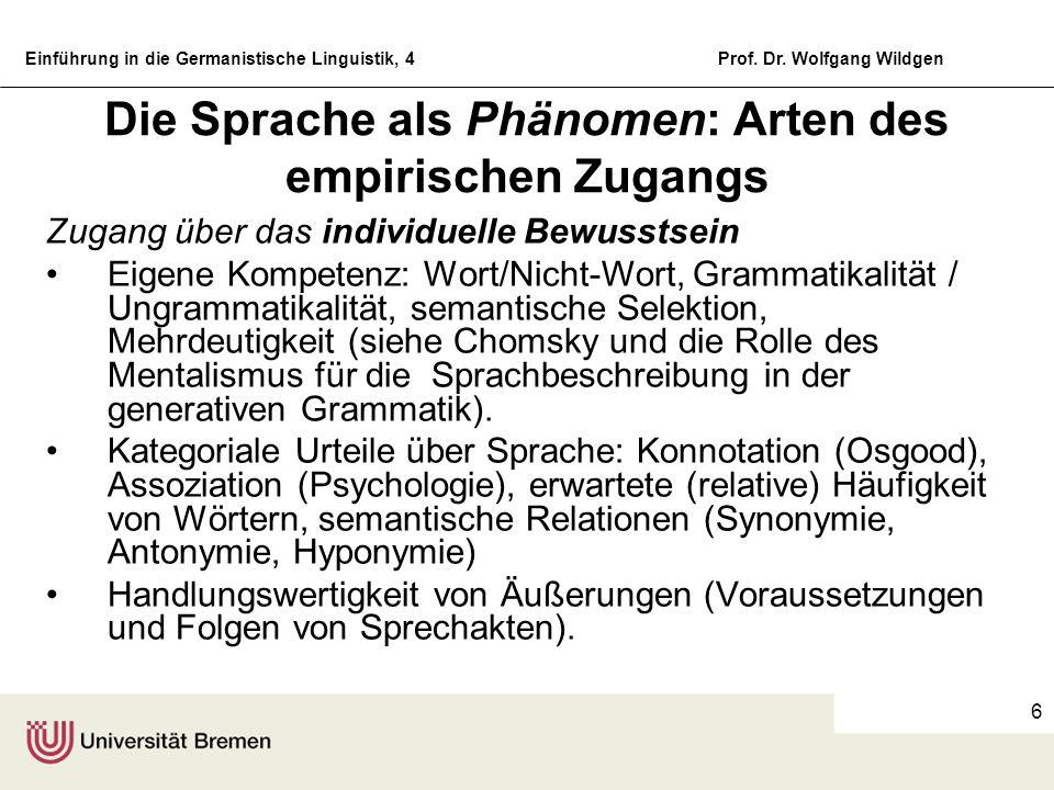 Einführung in die Germanistische Linguistik, 4Prof. Dr. Wolfgang Wildgen 6 Die Sprache als Phänomen: Arten des empirischen Zugangs Zugang über das ind