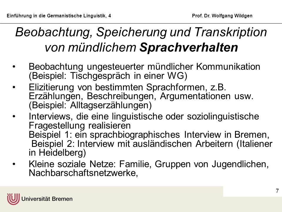 Einführung in die Germanistische Linguistik, 4Prof. Dr. Wolfgang Wildgen 7 Beobachtung, Speicherung und Transkription von mündlichem Sprachverhalten B