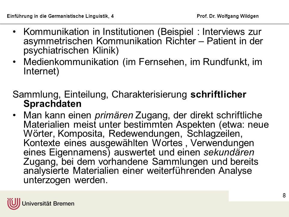 Einführung in die Germanistische Linguistik, 4Prof. Dr. Wolfgang Wildgen 8 Kommunikation in Institutionen (Beispiel : Interviews zur asymmetrischen Ko
