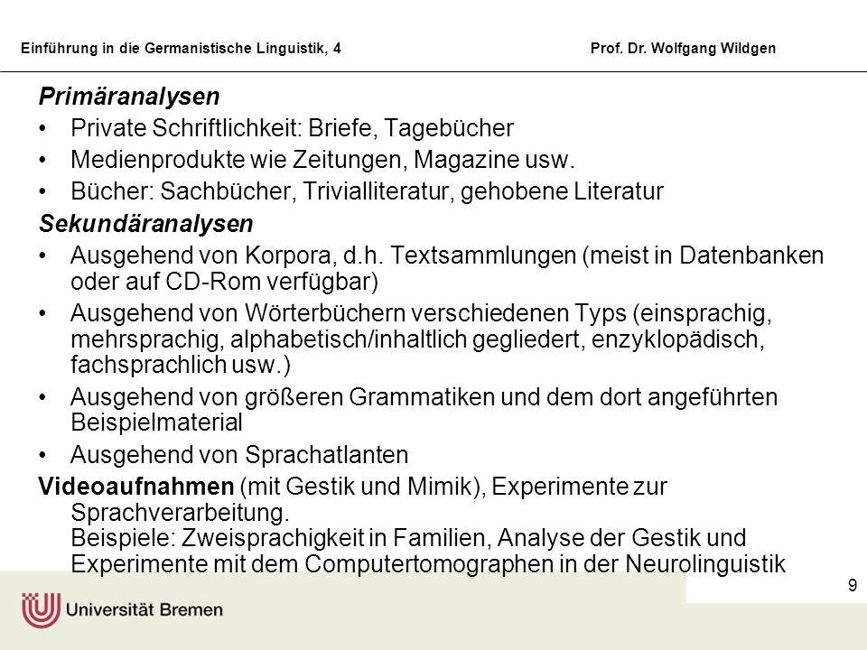 Einführung in die Germanistische Linguistik, 4Prof. Dr. Wolfgang Wildgen 9 Primäranalysen Private Schriftlichkeit: Briefe, Tagebücher Medienprodukte w