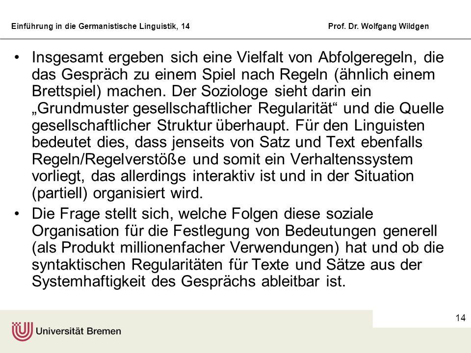 Einführung in die Germanistische Linguistik, 14Prof. Dr. Wolfgang Wildgen 14 Insgesamt ergeben sich eine Vielfalt von Abfolgeregeln, die das Gespräch