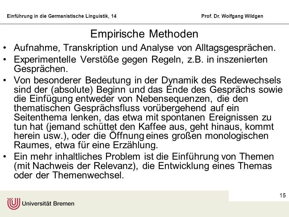 Einführung in die Germanistische Linguistik, 14Prof. Dr. Wolfgang Wildgen 15 Empirische Methoden Aufnahme, Transkription und Analyse von Alltagsgesprä