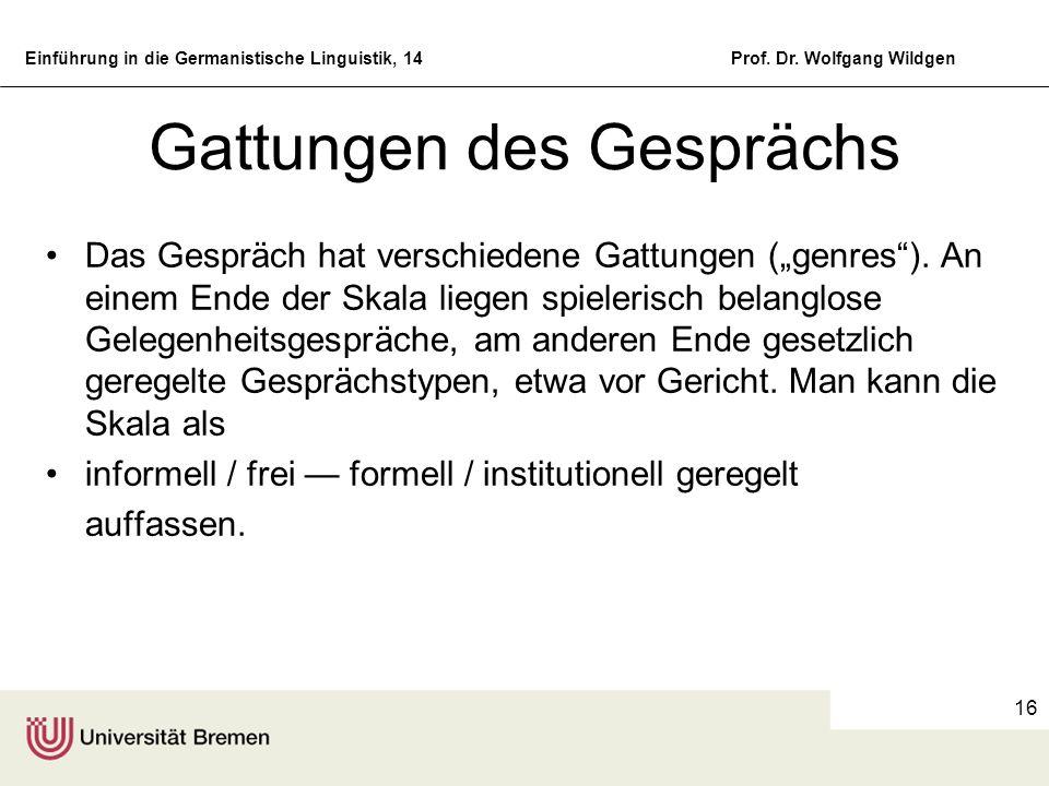Einführung in die Germanistische Linguistik, 14Prof. Dr. Wolfgang Wildgen 16 Gattungen des Gesprächs Das Gespräch hat verschiedene Gattungen (genres).