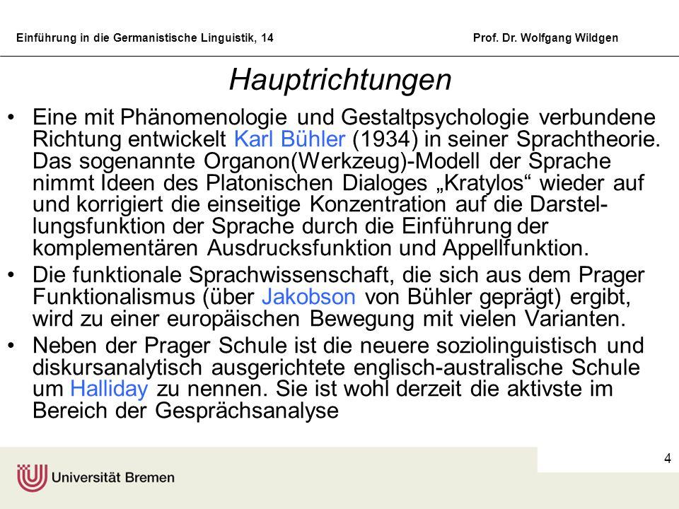 Einführung in die Germanistische Linguistik, 14Prof. Dr. Wolfgang Wildgen 4 Hauptrichtungen Eine mit Phänomenologie und Gestaltpsychologie verbundene