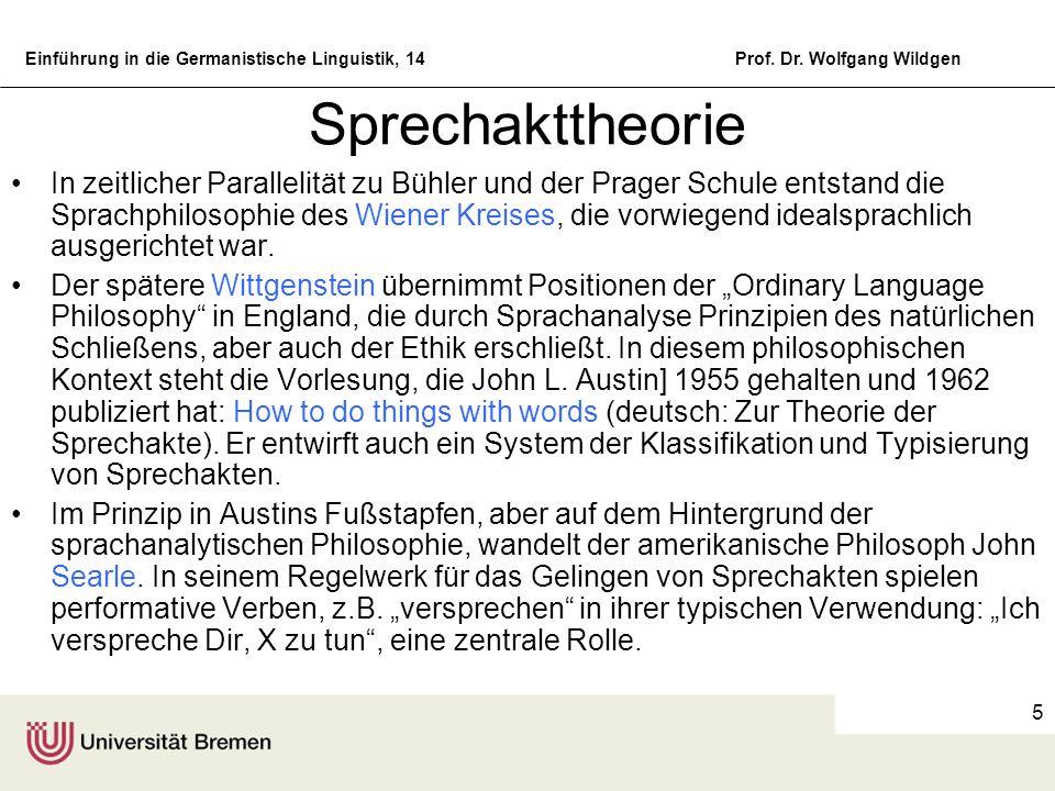 Einführung in die Germanistische Linguistik, 14Prof. Dr. Wolfgang Wildgen 5 Sprechakttheorie In zeitlicher Parallelität zu Bühler und der Prager Schul