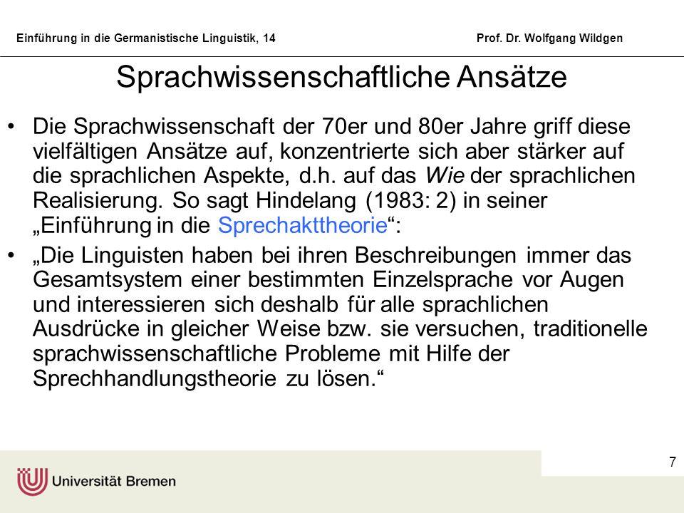 Einführung in die Germanistische Linguistik, 14Prof. Dr. Wolfgang Wildgen 7 Sprachwissenschaftliche Ansätze Die Sprachwissenschaft der 70er und 80er J