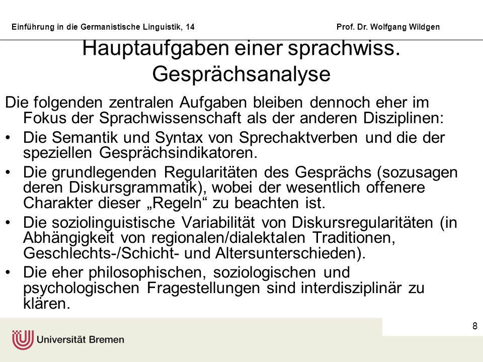 Einführung in die Germanistische Linguistik, 14Prof. Dr. Wolfgang Wildgen 8 Hauptaufgaben einer sprachwiss. Gesprächsanalyse Die folgenden zentralen A