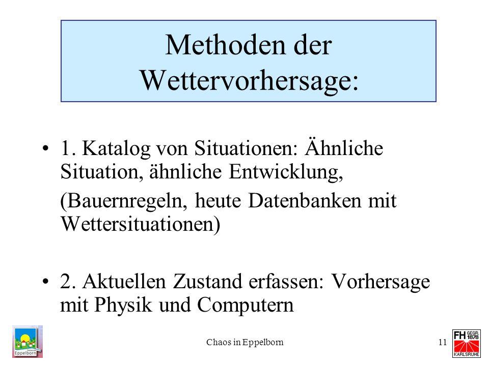 Chaos in Eppelborn11 Methoden der Wettervorhersage: 1. Katalog von Situationen: Ähnliche Situation, ähnliche Entwicklung, (Bauernregeln, heute Datenba