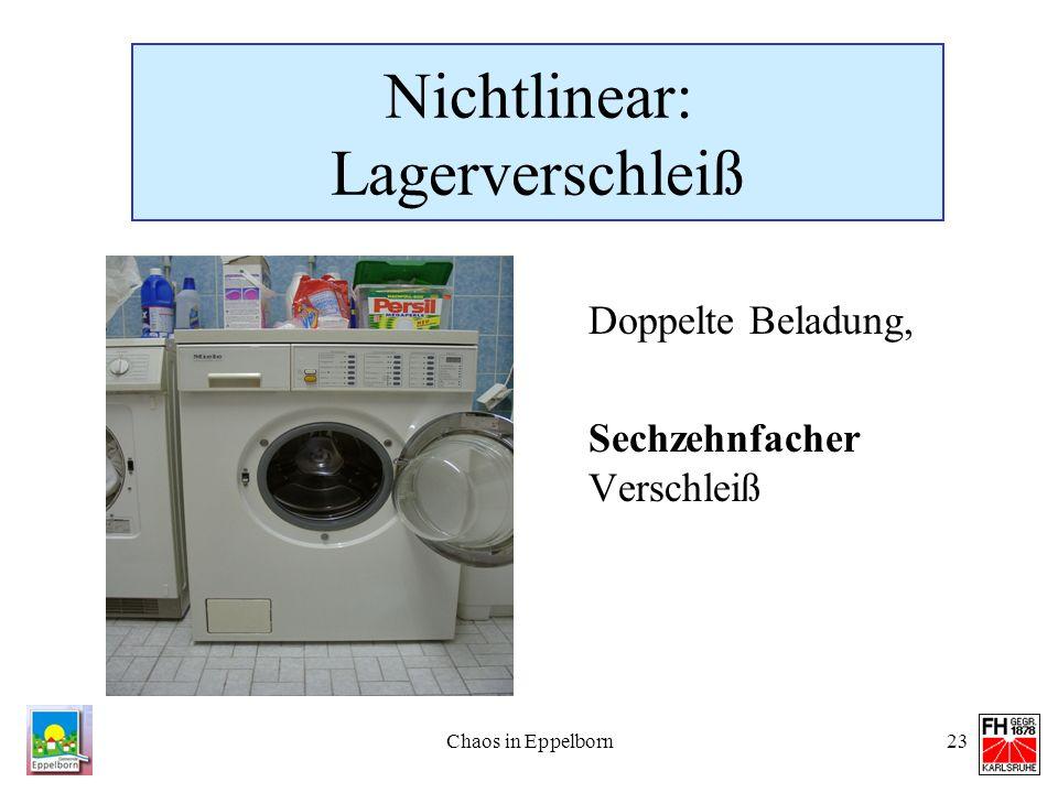 Chaos in Eppelborn23 Nichtlinear: Lagerverschleiß Doppelte Beladung, Sechzehnfacher Verschleiß