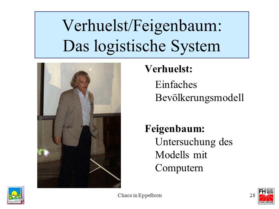 Chaos in Eppelborn28 Verhuelst/Feigenbaum: Das logistische System Verhuelst: Einfaches Bevölkerungsmodell Feigenbaum: Untersuchung des Modells mit Com