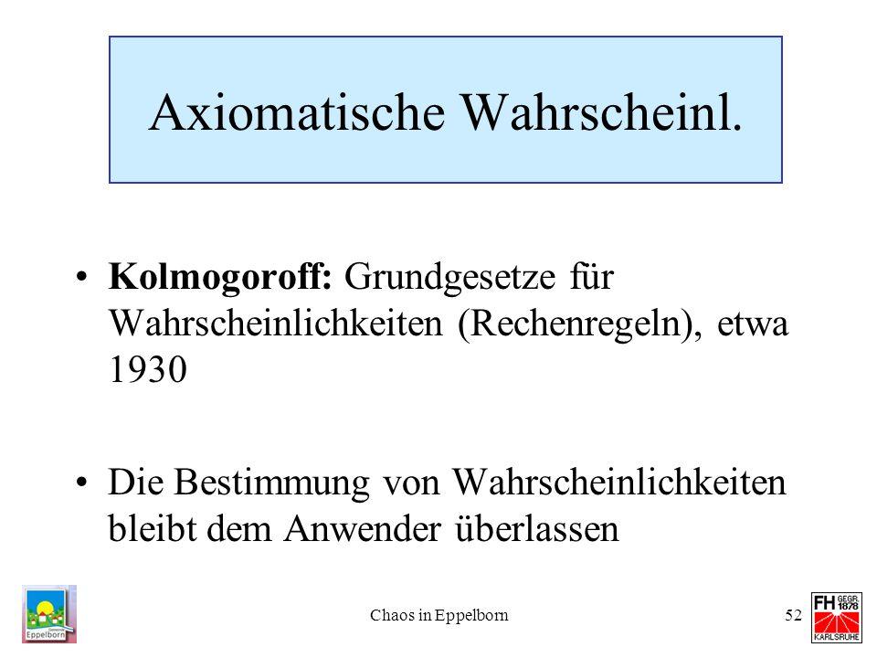 Chaos in Eppelborn52 Axiomatische Wahrscheinl. Kolmogoroff: Grundgesetze für Wahrscheinlichkeiten (Rechenregeln), etwa 1930 Die Bestimmung von Wahrsch