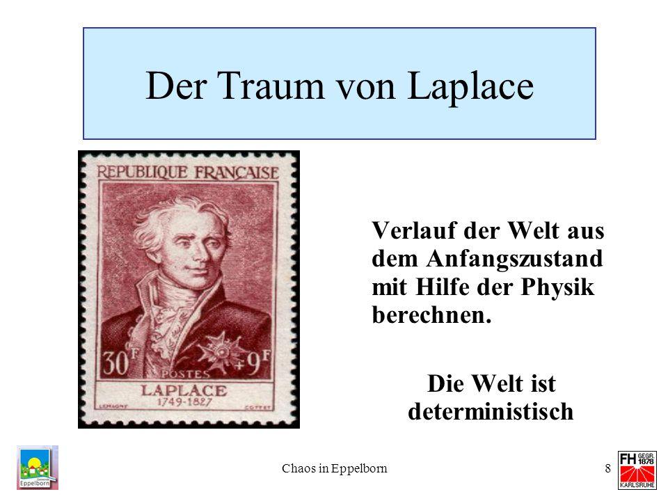 Chaos in Eppelborn8 Der Traum von Laplace Verlauf der Welt aus dem Anfangszustand mit Hilfe der Physik berechnen. Die Welt ist deterministisch