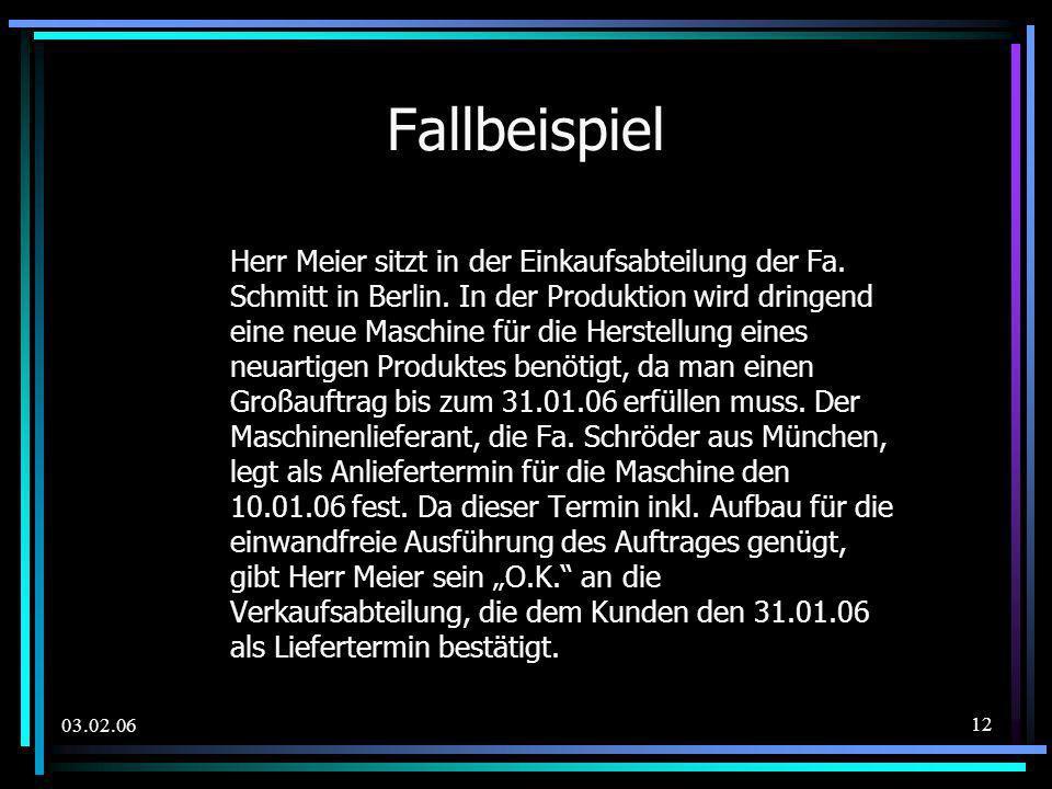 03.02.06 Fallbeispiel Herr Meier sitzt in der Einkaufsabteilung der Fa. Schmitt in Berlin. In der Produktion wird dringend eine neue Maschine für die