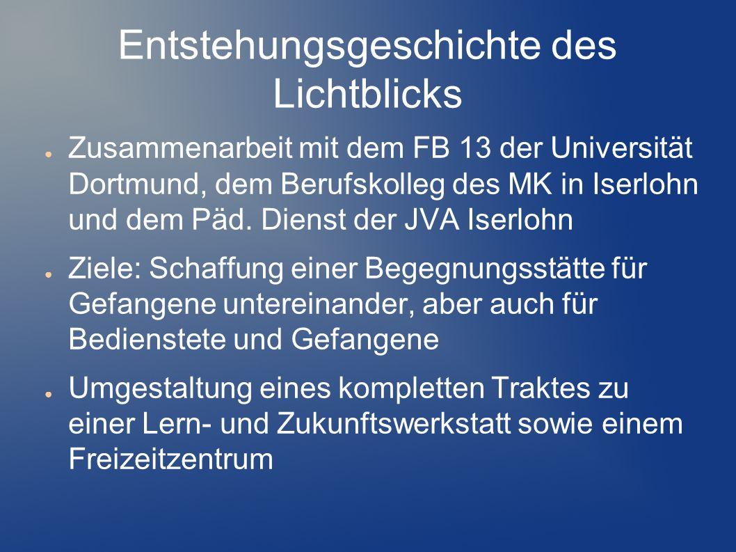 Entstehungsgeschichte des Lichtblicks Zusammenarbeit mit dem FB 13 der Universität Dortmund, dem Berufskolleg des MK in Iserlohn und dem Päd. Dienst d