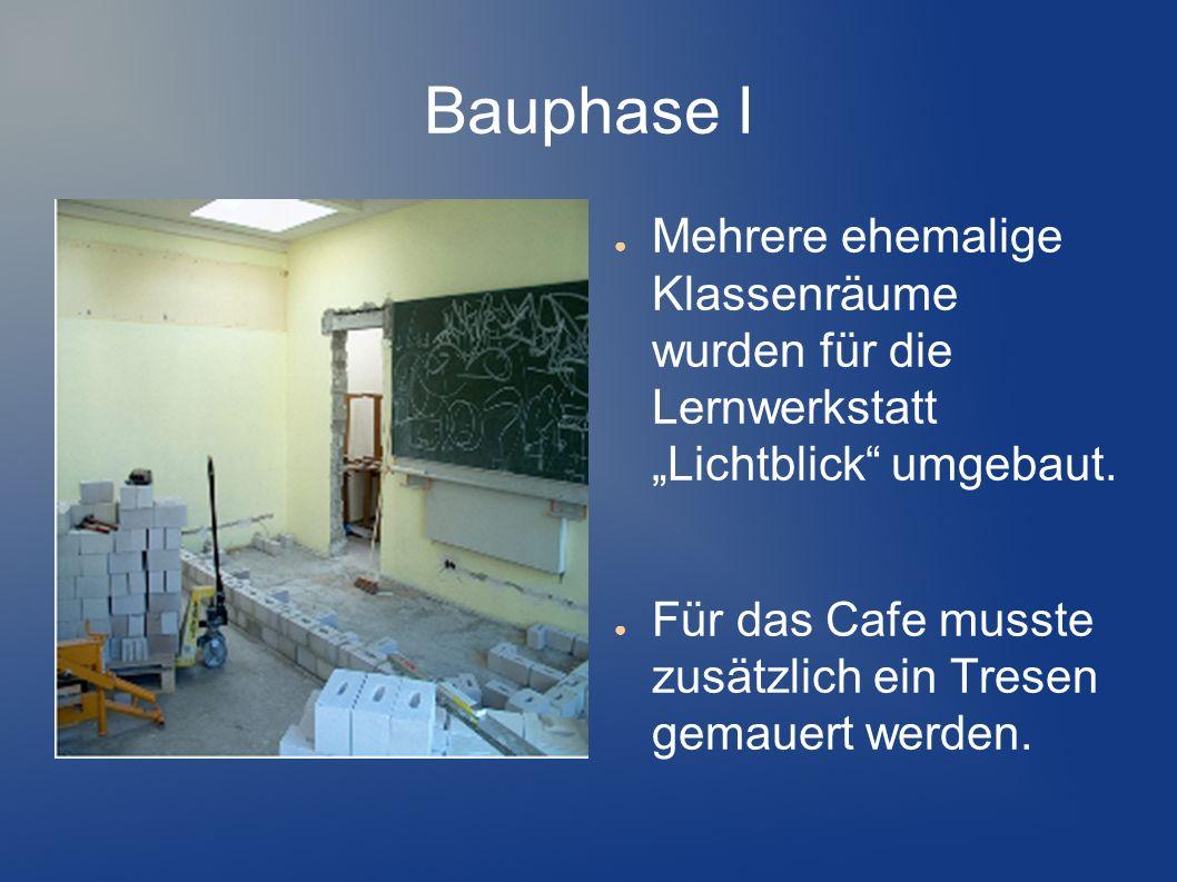 Bauphase I Mehrere ehemalige Klassenräume wurden für die Lernwerkstatt Lichtblick umgebaut. Für das Cafe musste zusätzlich ein Tresen gemauert werden.