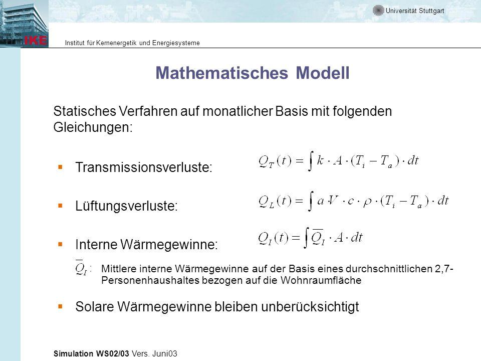 Universität Stuttgart Institut für Kernenergetik und Energiesysteme Simulation WS02/03 Vers. Juni03 Mathematisches Modell Transmissionsverluste: Lüftu