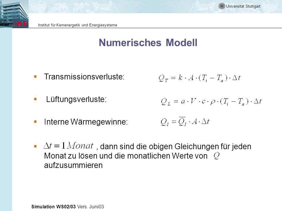 Universität Stuttgart Institut für Kernenergetik und Energiesysteme Simulation WS02/03 Vers. Juni03 Numerisches Modell Transmissionsverluste: Lüftungs