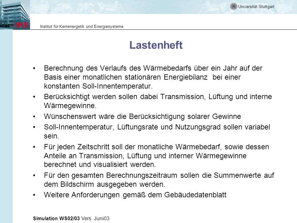 Universität Stuttgart Institut für Kernenergetik und Energiesysteme Simulation WS02/03 Vers. Juni03 Lastenheft Berechnung des Verlaufs des Wärmebedarf