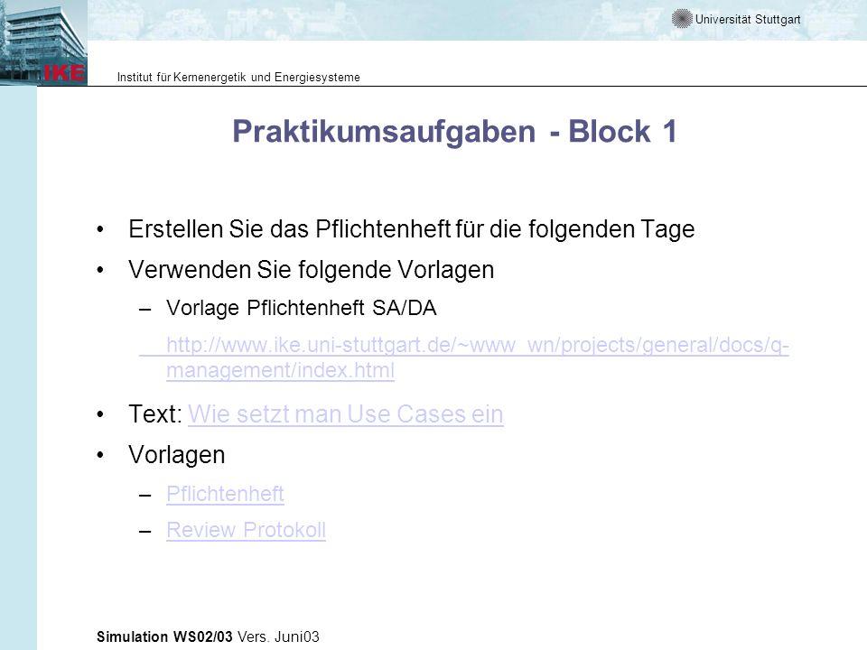 Universität Stuttgart Institut für Kernenergetik und Energiesysteme Simulation WS02/03 Vers. Juni03 Praktikumsaufgaben - Block 1 Erstellen Sie das Pfl