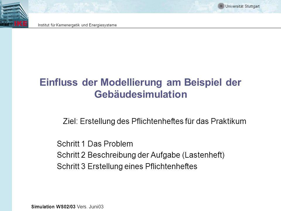 Universität Stuttgart Institut für Kernenergetik und Energiesysteme Simulation WS02/03 Vers. Juni03 Einfluss der Modellierung am Beispiel der Gebäudes
