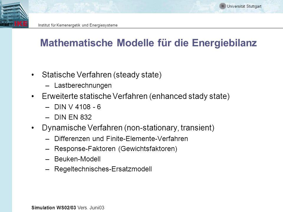 Universität Stuttgart Institut für Kernenergetik und Energiesysteme Simulation WS02/03 Vers. Juni03 Mathematische Modelle für die Energiebilanz Statis
