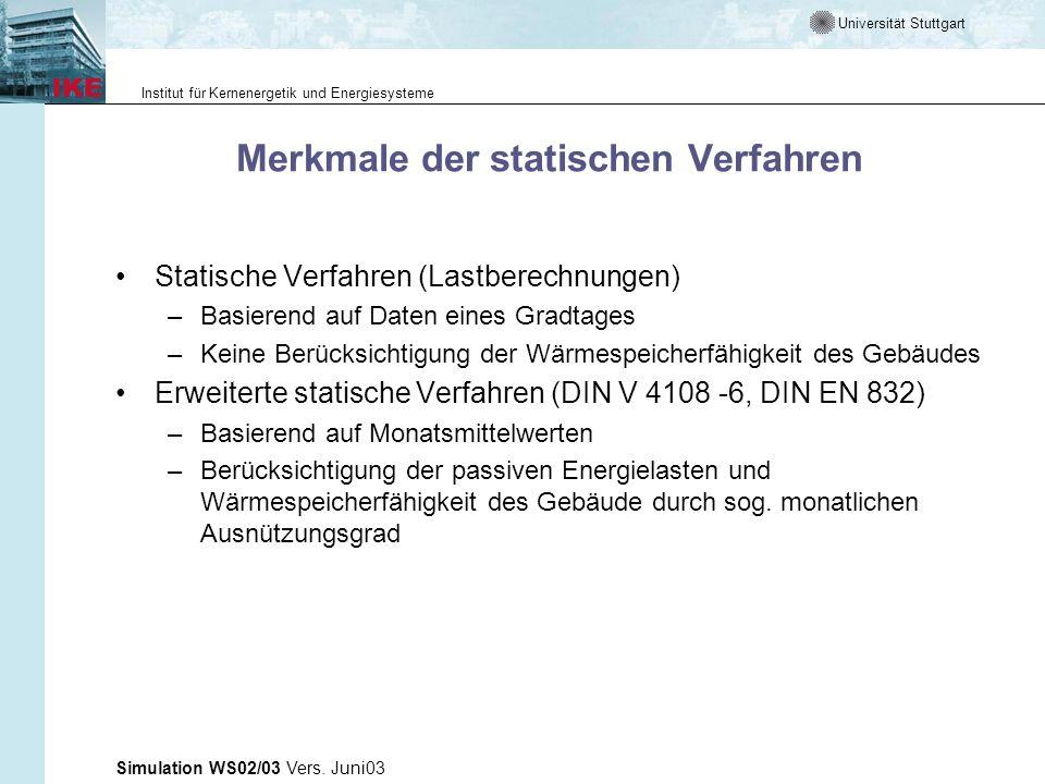 Universität Stuttgart Institut für Kernenergetik und Energiesysteme Simulation WS02/03 Vers. Juni03 Merkmale der statischen Verfahren Statische Verfah