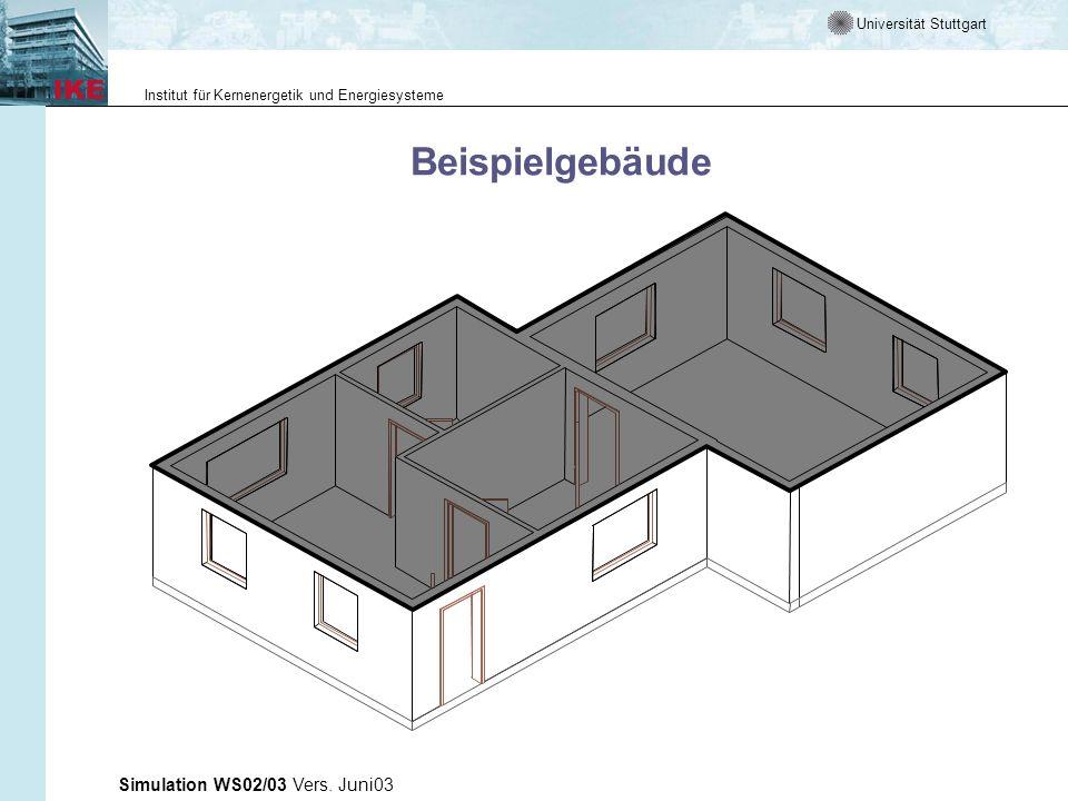 Universität Stuttgart Institut für Kernenergetik und Energiesysteme Simulation WS02/03 Vers. Juni03 Beispielgebäude