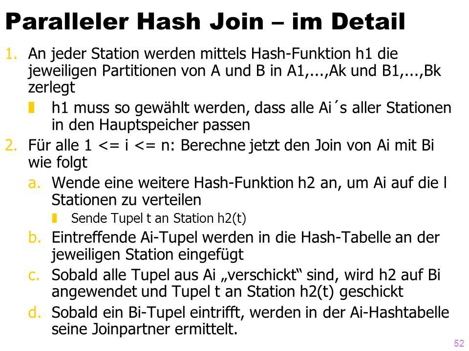 52 Paralleler Hash Join – im Detail 1.An jeder Station werden mittels Hash-Funktion h1 die jeweiligen Partitionen von A und B in A1,...,Ak und B1,...,Bk zerlegt zh1 muss so gewählt werden, dass alle Ai´s aller Stationen in den Hauptspeicher passen 2.Für alle 1 <= i <= n: Berechne jetzt den Join von Ai mit Bi wie folgt a.Wende eine weitere Hash-Funktion h2 an, um Ai auf die l Stationen zu verteilen zSende Tupel t an Station h2(t) b.Eintreffende Ai-Tupel werden in die Hash-Tabelle an der jeweiligen Station eingefügt c.Sobald alle Tupel aus Ai verschickt sind, wird h2 auf Bi angewendet und Tupel t an Station h2(t) geschickt d.Sobald ein Bi-Tupel eintrifft, werden in der Ai-Hashtabelle seine Joinpartner ermittelt.