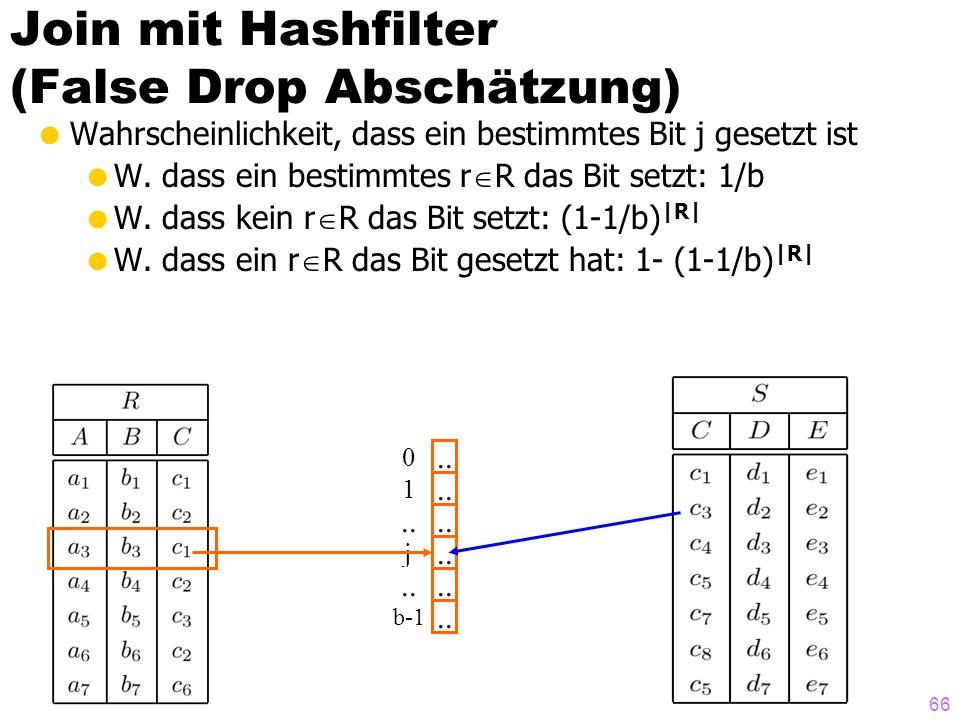 66.. Join mit Hashfilter (False Drop Abschätzung) Wahrscheinlichkeit, dass ein bestimmtes Bit j gesetzt ist W. dass ein bestimmtes r R das Bit setzt: