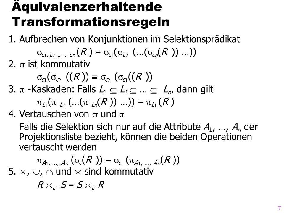 118 Übersetzung der logischen Algebra RS A R.A=S.B RS HashJoin R.A=S.B RS MergeJoin R.A=S.B [Sort R.A ][Sort S.B ] R S IndexJoin R.A=S.B [Hash S.B   Tree S.B ] R S NestedLoop R.A=S.B [Bucket]