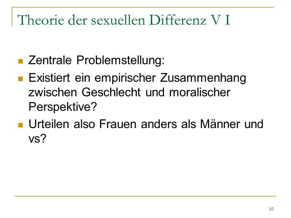 10 Theorie der sexuellen Differenz V I Zentrale Problemstellung: Existiert ein empirischer Zusammenhang zwischen Geschlecht und moralischer Perspektiv