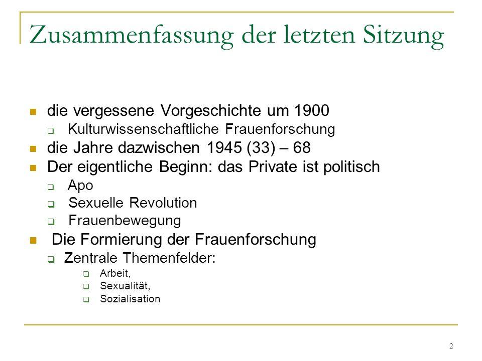 2 Zusammenfassung der letzten Sitzung die vergessene Vorgeschichte um 1900 Kulturwissenschaftliche Frauenforschung die Jahre dazwischen 1945 (33) – 68