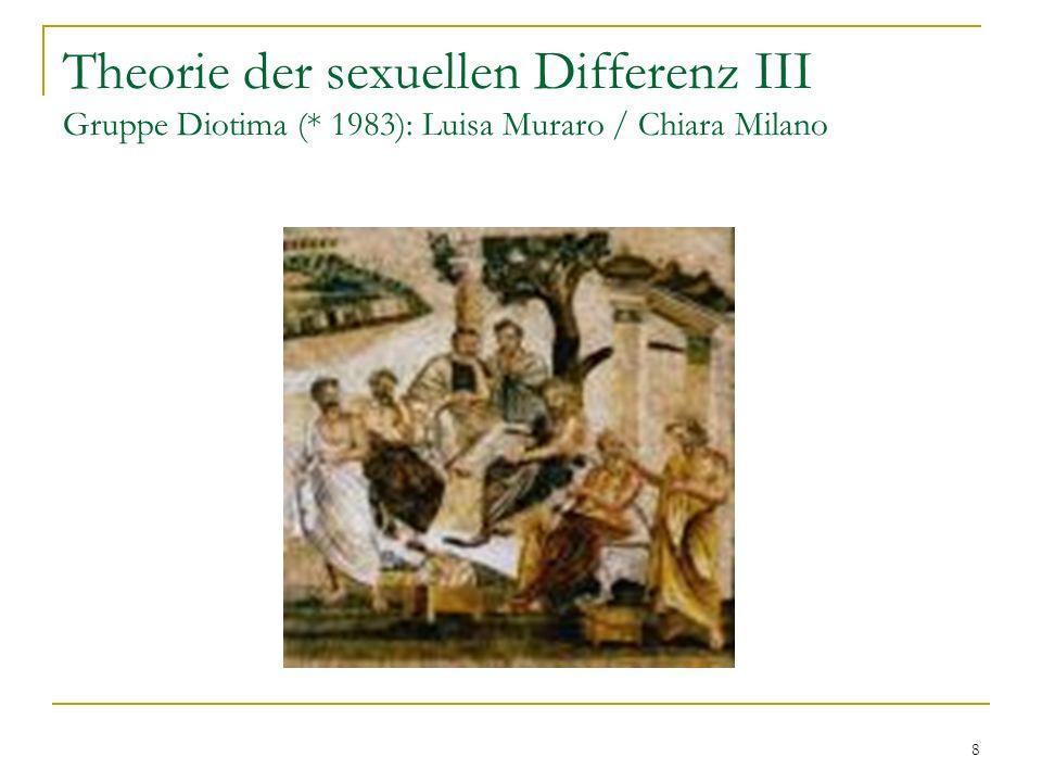 8 Theorie der sexuellen Differenz III Gruppe Diotima (* 1983): Luisa Muraro / Chiara Milano
